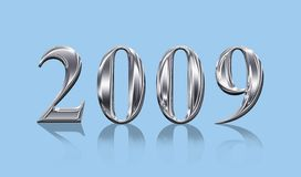2009. Chrome 2009 3D letters isolated on  blue background Stock Photos