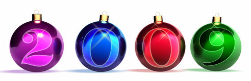 2009. Christmas balls. Year of 2009 Stock Photography