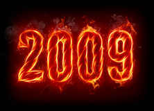 2009. Fire number on black background Stock Image