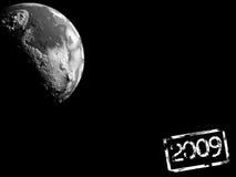 2009. Planet on black background 2009 vector illustration