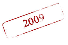 2009. Red grunge stamp with 2009 written on it stock illustration