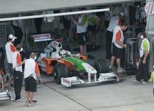 2009 Adrian Sutil bij Maleise F1 Grand Prix Royalty-vrije Stock Foto