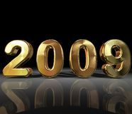 2009 background. The year 2009 on a black background with a reflection Stock Photography