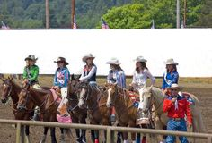 2009 Beautiful Teens Rodeo Royalty a. SEDRO WOOLLEY, WA - JULY 4: - Several unidentified participants, ages 16-18, of Sedro Woolley, Wa. are presented as the Stock Photo