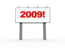2009 billboard. 3d illustration of billboard isolated on white background with text '2009 vector illustration