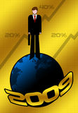 2009 Business Greetings. 2009 background with planet earth and business man Stock Photography