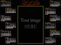 2009 calendar. With place for your image. Week starts on Sunday stock illustration