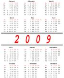 2009 Calendar. Calender for 2009 with 4 rows and  3 columns of month/ Black and red symbols over white background/ The number of year in the middle of image Royalty Free Stock Photo