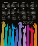 2009 Calendar. An illustrated 2009 calendar with a metaphorical theme showing united hands of all races shown in different colors stock illustration