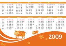 2009 calendar with cow. (symbol of 2009 year) starts Sunday Stock Illustration