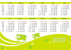 2009 calendar with cow. (symbol of 2009 year). Starts Sunday Stock Photo