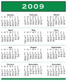 2009 Calendar Full Year. Very simple year 2009 calendar template with simple text and simple green accents. Plain design suitable for pocket calendar royalty free illustration