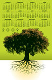 2009 calendar with tree. A 2009 calendar with a tree and roots Royalty Free Stock Image