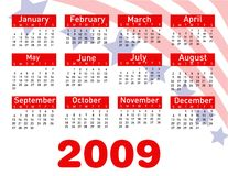 2009 calendar vector. Illustration on white royalty free illustration