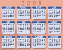 2009 Calendar by Willierossin. Calendar for the year 2009. Peach background. Each month on light blue background stock illustration