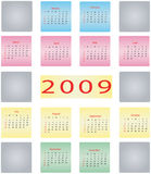 2009 calender. 2009 colorful calender, with free spaces to write stock illustration