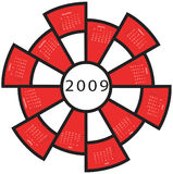 2009 calender. 2009 red wheel calender, with free spaces to write stock illustration