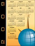2009 calender with globe. A 2009 illustrated calender with a globe motif and space for logo and text insertion Stock Images