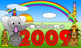 2009 cartoon. 2009 background and welcome message by cartoon style vector illustration