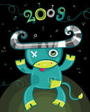 2009 cartoon ox. Set - new year symbols. 2009 is the Year of the Ox according to the Chinese Zodiac. To see similar, please VISIT MY GALLERY Royalty Free Stock Photo