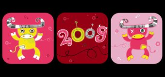 2009 cartoon ox set. New year symbols. 2009 is the Year of the Ox according to the Chinese Zodiac. To see similar, please VISIT MY GALLERY Royalty Free Stock Image