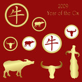 2009 chinese NY icon set. 2009 year of the ox, with ox images and chinese character for Ox royalty free illustration