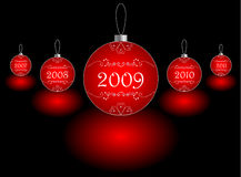 2009 on christmas ball. Red christmas balls on black background stock illustration