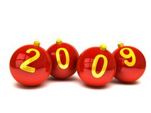 '2009' on christmas balls. Over white Stock Photography
