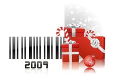2009 code bar. Bar code with congratulations and red gifts vector draw on white background. Happy holydays stock illustration