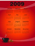 2009 coffee calendar. Vector illustration royalty free illustration