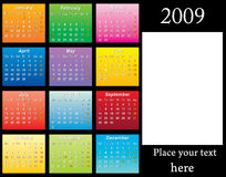 2009 colorful Calendar. 2009 USA Calendar with holidays template (size: 11R or 11 × 14) to easy paste any photo of size 5 x 7 (5R, 2L or 13cm x 18cm) vector Stock Illustration