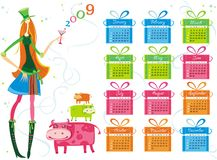 2009 colorful calendar. 2009 calendar with girl, cows and presents. To see more calendars, please visit my gallery Stock Illustration