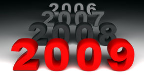 2009 is coming. Fine 3d image of 2009 new years day background Royalty Free Stock Image