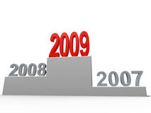 2009 concept. New year concept. Numbers on the podium. Isolated stock illustration
