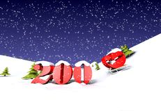 2009 is cooming (with snow). The 2009 year is cooming. Computer generated 3D illustration, with snowflakes Royalty Free Stock Photo