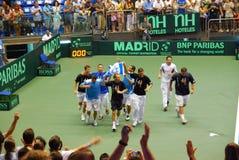 2009 de kop van Davis van het Tennis - Israëlische teamviering Royalty-vrije Stock Foto
