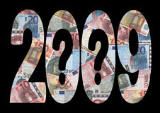 2009 economic uncertainty. Economic uncertainty 2009 with question marks and euros Royalty Free Stock Photography