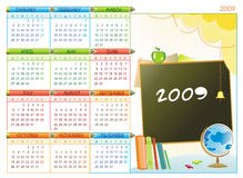 2009 educational calendar. 2009 colorful educational calendar (Starts Monday Stock Illustration