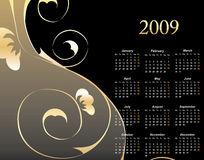 2009 Elegant Floral Calendar. With space reserved for your text vector illustration royalty free illustration