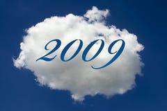 2009 escrito na nuvem Fotografia de Stock Royalty Free