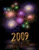 2009 eve cyfrowe fajerwerki nowego roku ilustracji