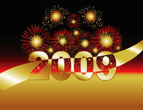 2009 Fireworks. Fireworks in Gold & Red. 2009 featured above copy space. Uses include 2009 holiday celebrations or grand openings royalty free illustration