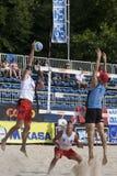 2009 FIVB CEV Lausanne Beach Volley Tournament. 2009 FIVB CEV Lausanne Beach Volley Satellite Tournament - Laciga-Bellaguarda vs Tichy-Dumek. 3-time European Stock Photo