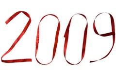 2009 geschreven in lint Royalty-vrije Stock Afbeeldingen