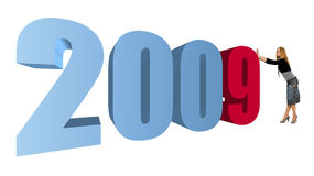 2009 And Girl. New Year Eve Stock Illustration