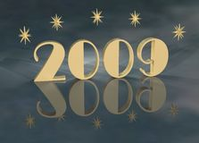 2009 Gold. Year 2009 in gold stylish font with 3d dimensional stars. 2009 and stars reflect onto a surface of surreal clouds. Great texture, backlight, and vector illustration