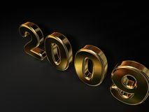 2009 in Gold. A 3d illustration showing the year 2009 in golden metal, on a black background Stock Photo