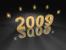 2009 Gold on Black. 2009 year is gold meteallic on black with dimensional golden stars, a back spotlight effect, and dramatic shadows cast to front. Wide angle Royalty Free Stock Images