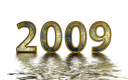 2009 golden reflexion. 2009 New Year illustration with water riplles and reflexion on blue grunge background Stock Images