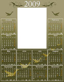 2009 Goose Calendar. 2009 USA Calendar with moon phases template (size: 11R or 11 × 14) to easy paste any photo of size 5 X 7 (5R, 2L or 13cm x 18cm) vector stock illustration